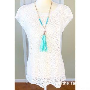 Pixley Ivory Lace ZIP Back Blouse Size M